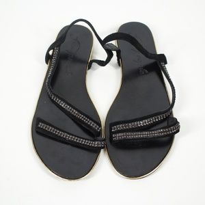 Free People Beaded Flat Sandals Black Size 10